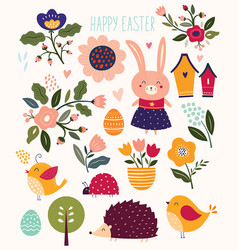 Spring easter elements vector