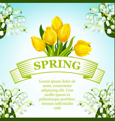 Spring tulip and lilly flowers bunch poster vector