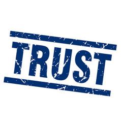 square grunge blue trust stamp vector image