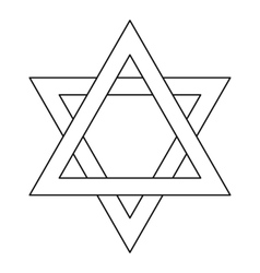 Star of David icon outline style vector image