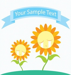 sunflower cry cartoon vector image