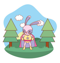 Superhero bunny outdoors landscape scenery cartoon vector