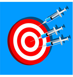 syringe and target seccess of treatment syringes vector image