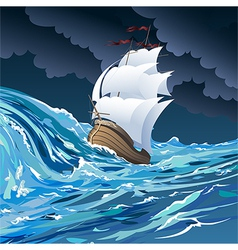 The sail ship vector image