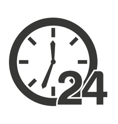 Time clock 24 hours icon vector