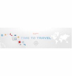 time to travel banner with font inscription and vector image