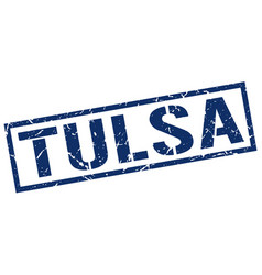 Tulsa blue square stamp vector