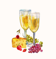 two glasses champagne romantic still life vector image