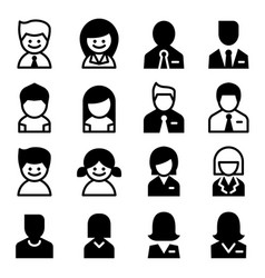 user avatar man woman businessman icon set vector image