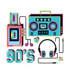 Walkman with headphones and radio of nineties vector