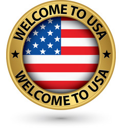 welcome to usa gold label with flag vector image