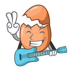 with guitar shell of broken egg on the mascot vector image