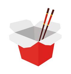 wok box with chopsticks cartoon flat style vector image