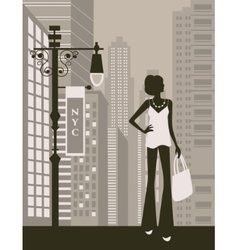 woman in city vector image
