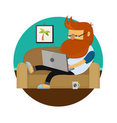 young freelancer hipster man working character vector image