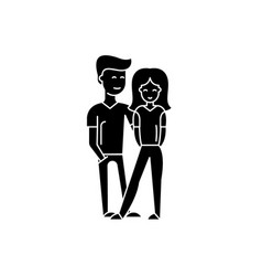 young happy couple black icon sign on vector image