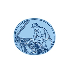 Auto Mechanic Automobile Car Repair Etching vector image