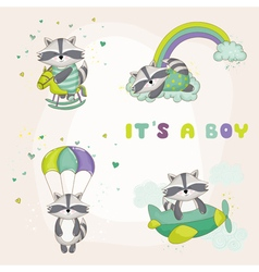 Baby Racoon Set - Baby Shower or Arrival Card vector image vector image
