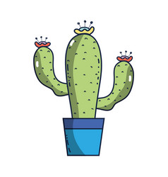 cactus plant with flower inside of flowerpot vector image