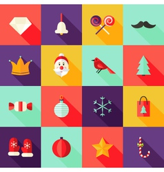 Christmas Square Flat Icons Set 1 vector image vector image