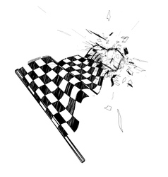 Drawing checkered flag in the dynamic style vector image vector image