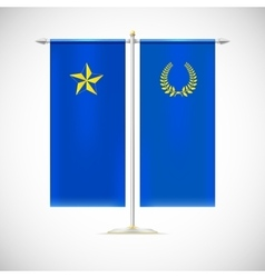 Two flags on a stand vector image vector image