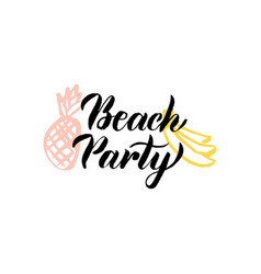beach party lettering vector image vector image