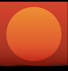 beautiful sunset with huge sun vector image vector image