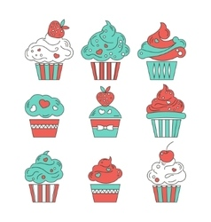 Cupcakes flat icons on isolated background vector image
