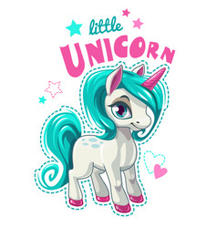 cute cartoon unicorn patch vector image vector image
