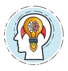 Head human rocket brain bulb idea power vector