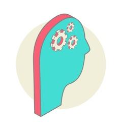 Human head idea - isometric design style for vector image