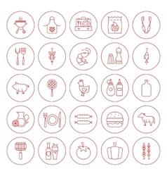 Line Circle BBQ Icons Set vector image vector image