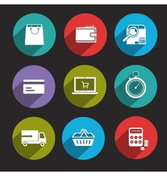 Online Shopping Icons Flat vector image