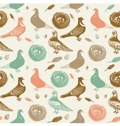 Retro Pigeons Pattern vector image vector image