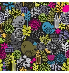 Seamless pattern with birds and pretty flowers vector image vector image