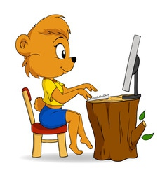 cute female cartoon bear typing on computer vector image vector image
