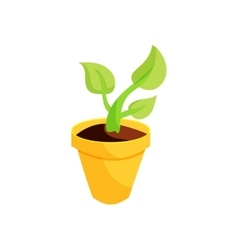 Green plant in a yellow pot icon cartoon style vector image