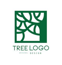 green tree logo original design green eco square vector image vector image
