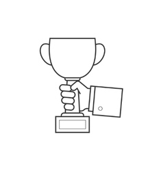Hand holding cup line icon vector image