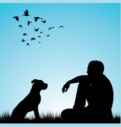 man and his dog sitting on grass vector image vector image