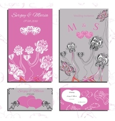 Set of wedding invitations and cards vector image vector image