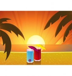 summer sunset and cocktails vector image vector image
