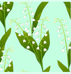 white lily of the valley on green mint background vector image