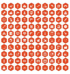 100 equipment icons hexagon orange vector