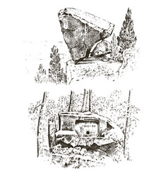 ancient cave prehistoric house of wood or stone vector image