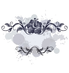 doodle floral frame border on grunge background vector image