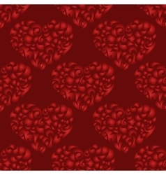 flourish heart red seamless pattern vector image vector image