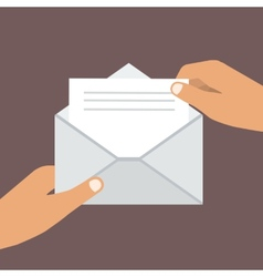 Hand holding opened envelope flat style vector