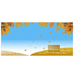 lonely bench on autumn path vector image vector image